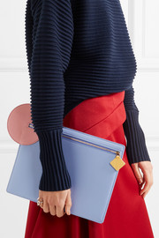 Aplin color-block textured-leather pouch