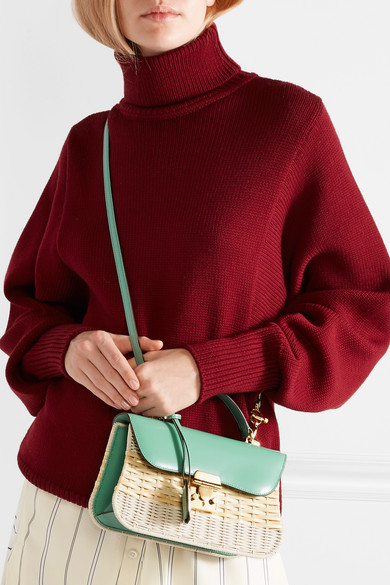 Mark Cross Dorothy Shoulder Bag Made Of Rattan And Patent Leather