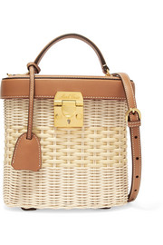 Benchley leather-trimmed woven raffia shoulder bag