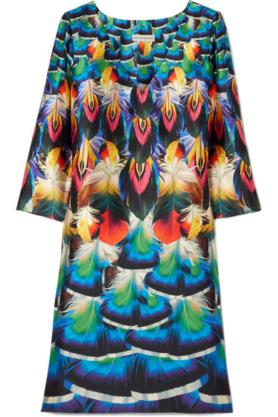 Mary Katrantzou - Shea Printed Silk-faille Dress - Blue
