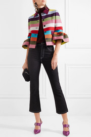 Mary Katrantzou Cuckoo cropped striped wool-blend twill jacket