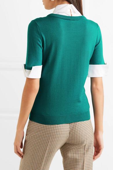 Mary Katrantzou Ella mehrlagiger, verzierter Pullover aus Wolle und Popeline aus einer Baumwollmischung