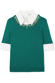 Ella embellished layered cotton-blend poplin and wool sweater