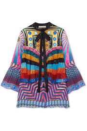 Mary Katrantzou Milana printed silk-crepe blouse