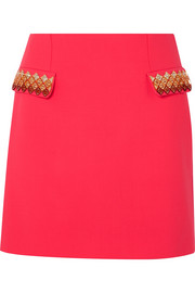 Mary Katrantzou Clovis embellished wool-blend mini skirt