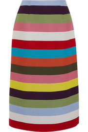 Sigma striped wool-blend twill midi skirt