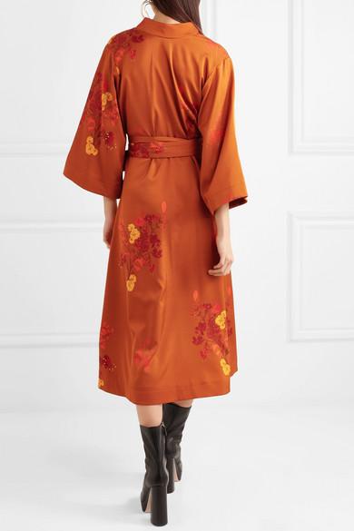 Ellery Bishop Wickelkleid aus Seidensatin mit floralem Print