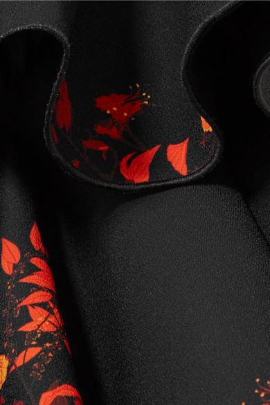 Ellery Reuben Midikleid aus Crêpe mit floralem Print und Rüschen