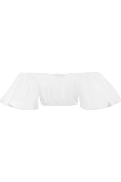 Ellery - Bachelorette Cropped Off-the-shoulder Cotton-poplin Top - White