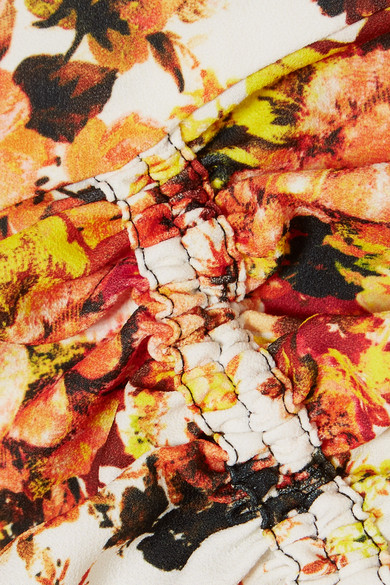 Ellery High Noon schulterfreies Oberteil aus Crêpe mit Blumendruck und Rüschen