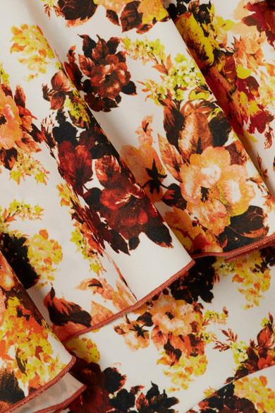 Ellery Saloon floral bedruckter Midirock aus Crêpe mit Volants