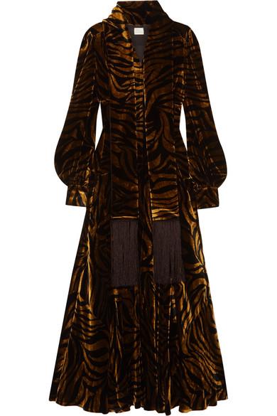 Hillier Bartley FRINGED PRINTED VELVET DRESS