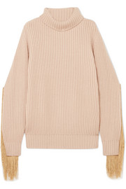 Fringed ribbed-knit cashmere turtleneck sweater
