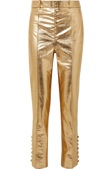 Hillier Bartley Glam Hose mit schmalem Bein aus Leder in Metallic-Optik