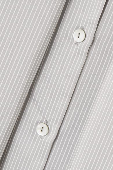 Hillier Bartley Hemd aus einer Seiden-Baumwollmischung mit Schluppe und Nadelstreifen