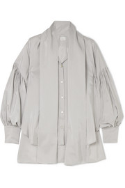 Hillier Bartley Pussy-bow pinstriped silk and cotton-blend shirt