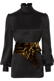 Printed velvet-trimmed silk-satin turtleneck top