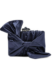 Rogan bow-embellished satin clutch