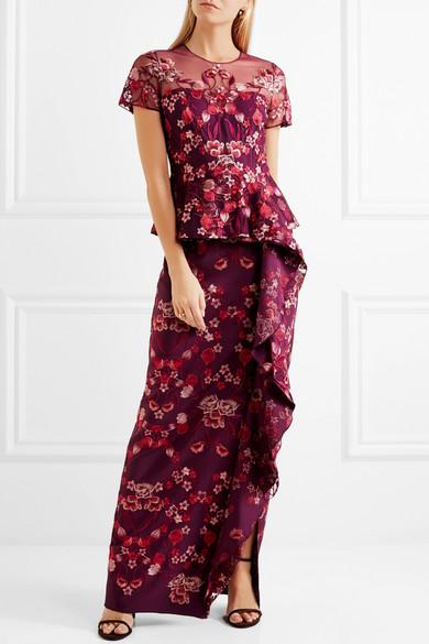 Marchesa Notte Robe aus Tüll und Jersey mit Rüschen und Stickereien