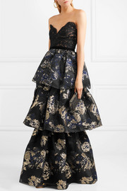 Tiered corded lace and brocade gown