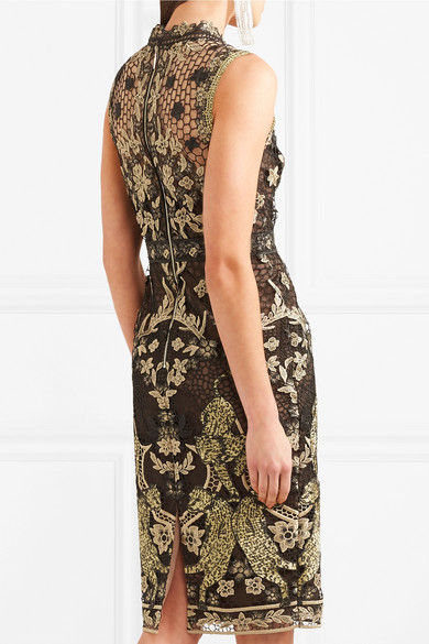 Marchesa Notte Dress In Guipure With Metallic Effect
