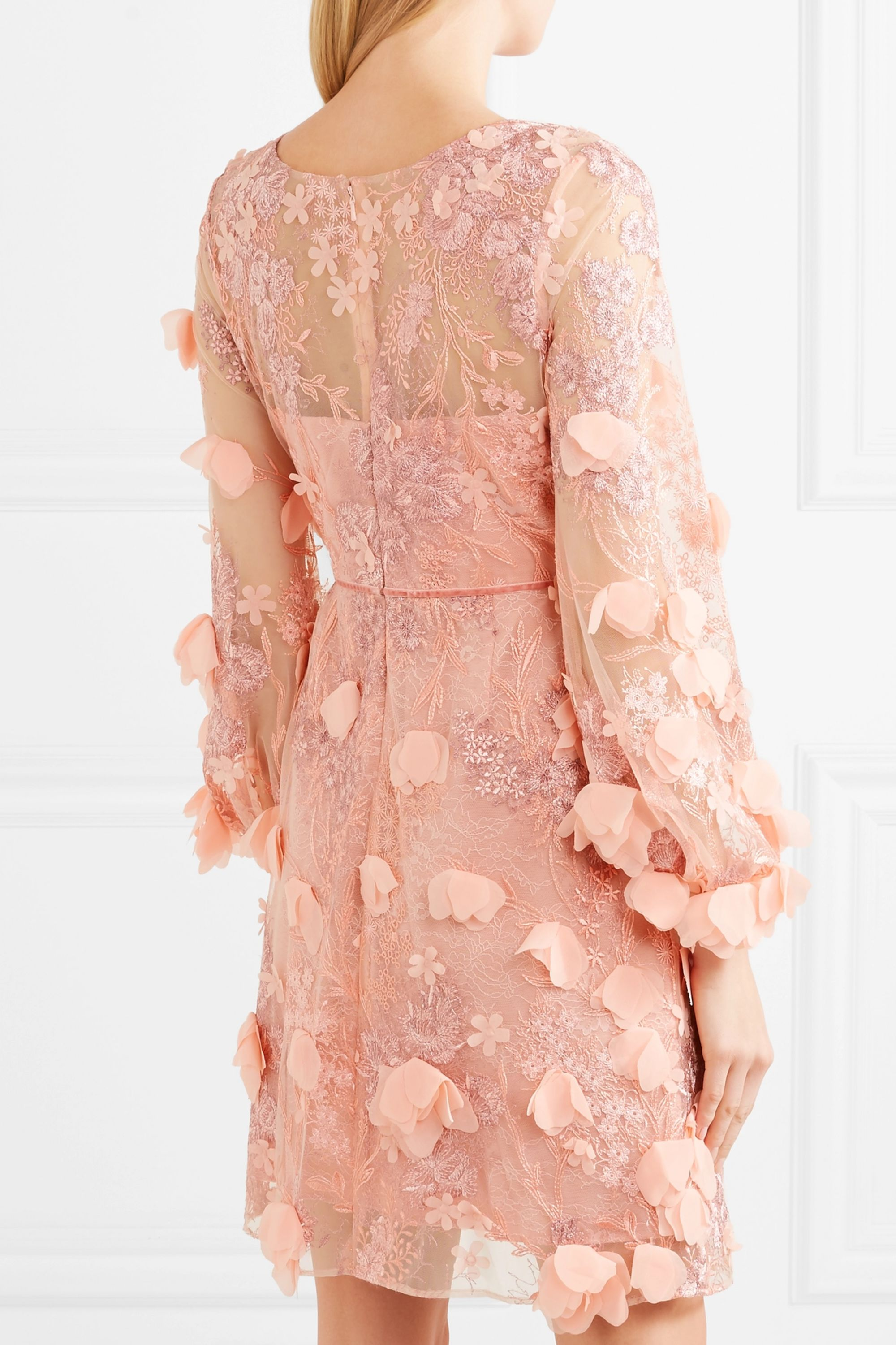 Marchesa Notte Embellished tulle and lace dress