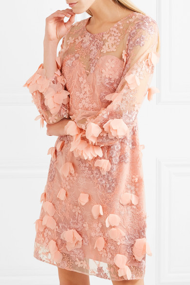 Marchesa Notte Verziertes Kleid aus Tüll und Spitze