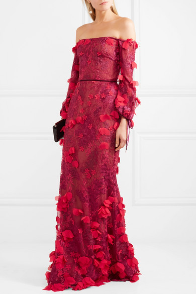 02a9aba9 Marchesa Notte | Off-the-shoulder embroidered tulle gown | NET-A ...