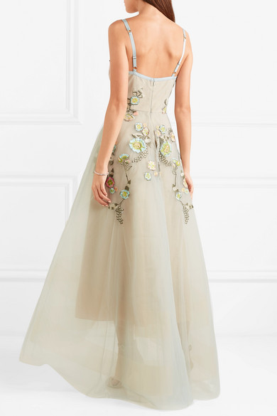6c8cee44a7c Marchesa Notte. Embroidered embellished tulle gown.  906.50. Play