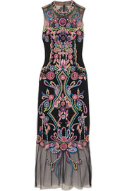 Beaded embroidered tulle midi dress