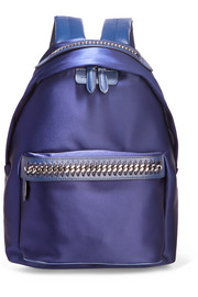 The Falabella GO faux leather-trimmed satin backpack