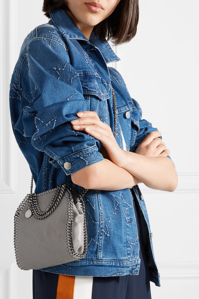 Stella McCartney The Falabella sehr kleine Schultertasche aus gebürstetem Kunstleder