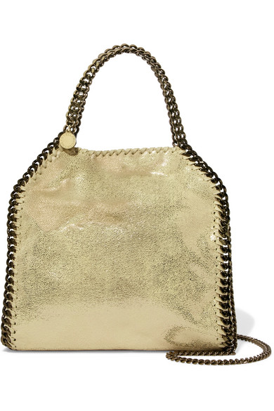 Stella Mccartney The Falabella Mini Metallic Faux Brushed-Leather Shoulder  Bag In Gold af5048a260