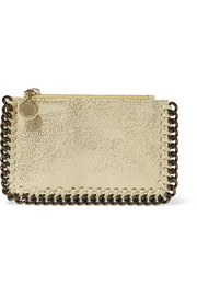 Stella McCartney Metallic faux brushed-leather cardholder