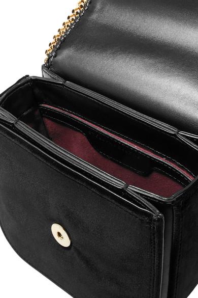 Stella McCartney The Falabella Box mini Schultertasche aus Samt mit Kunstlederbesatz