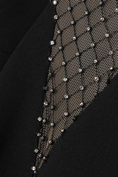 Stella McCartney Robe aus Cady und Mesh mit Kristallen