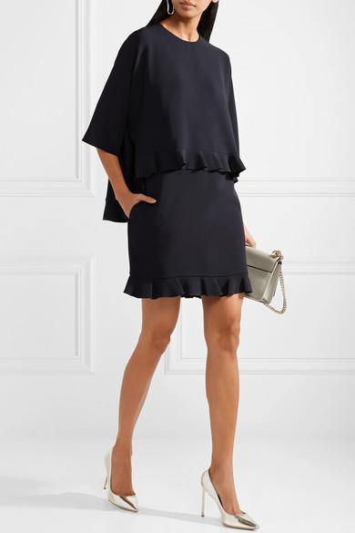 Stella McCartney Mehrlagiges Minikleid aus Stretch-Cady mit Rüschen