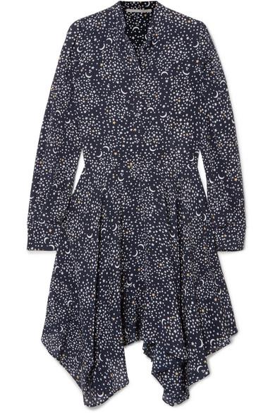 Printed Silk Crepe De Chine Dress - Navy Stella McCartney Wd9lU