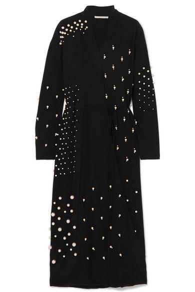 Oversized Faux Pearl Embellished Silk Crepe De Chine Wrap Dress by Stella Mc Cartney