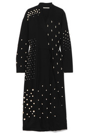 Stella McCartney Oversized faux pearl-embellished silk crepe de chine wrap dress