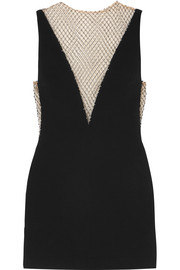 Stella McCartney Crystal-embellished mesh and cady mini dress