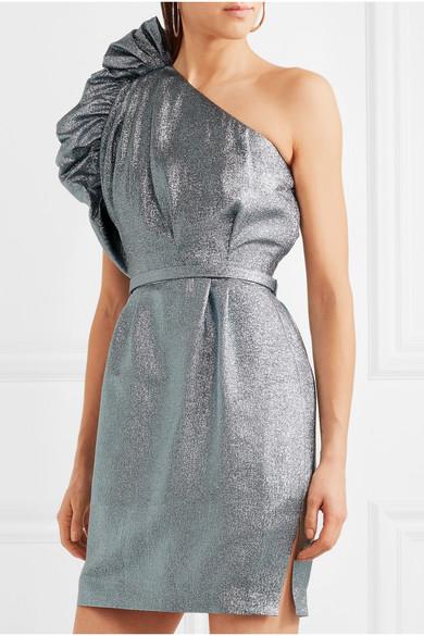 Stella McCartney Minikleid aus Lurex® mit asymmetrischer Schulterpartie und Rüschen