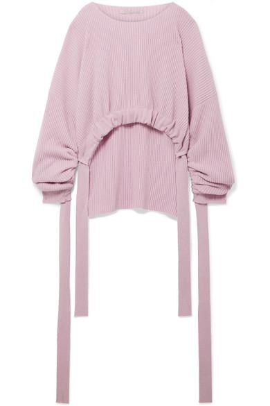 Stella McCartney Asymmetrischer Pullover aus einer gerippten Kaschmir-Wollmischung mit Raffungen