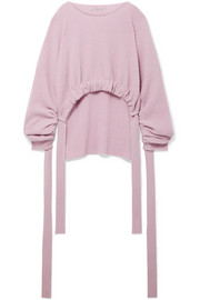 Stella McCartney Gathered asymmetric ribbed cashmere and wool-blend sweater