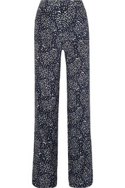Stella McCartney Printed silk crepe de chine wide-leg pants