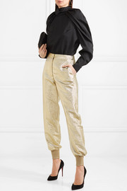 Lamé tapered pants