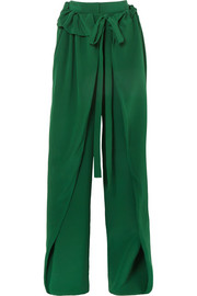 Stella McCartney Ruffled silk-crepe wide-leg pants