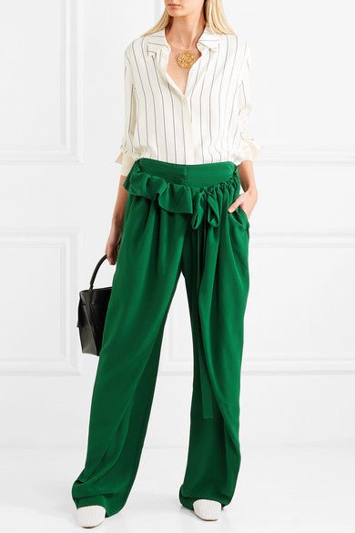Stella Mccartney Pants With Wide Leg From Silk-crêpe With Ruffles