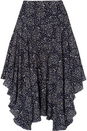 Stella McCartney Asymmetric printed silk crepe de chine midi skirt