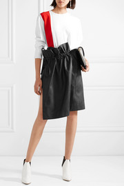 Brynn asymmetric gathered faux leather skirt